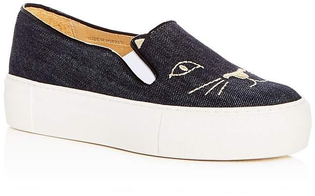 Charlotte Olympia Women's Kitty Embroidered Denim Platform Slip-On Sneakers