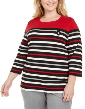 Karen Scott Plus Size Striped Button-Trim Top, Created for Macy's