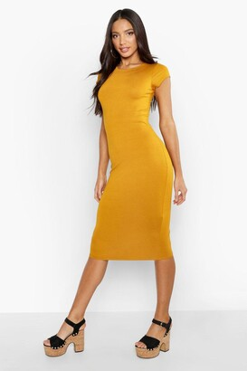 boohoo Cap Sleeve Jersey Bodycon Midi Dress