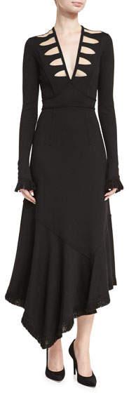 Andrew Gn Long-Sleeve V-Neck Illusion Midi Dress