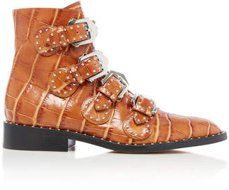 Givenchy Studded Croc-Effect Leather Ankle Boots Size: 35