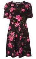 Dorothy Perkins Womens Pink Floral Lace Trim Dress- Pink