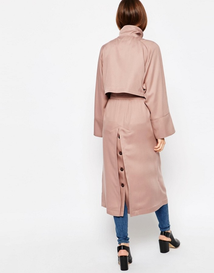 Asos Trench in Waterfall Drape with Roll Back Sleeve