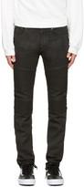 Neil Barrett Black Waxed Denim Biker Jeans
