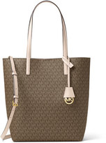 MICHAEL Michael Kors Hayley Large North-South Logo-Print Tote Bag, Mocha/Bisque