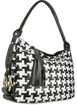 Fontanelli Black and White Houndstooth Woven Leather Tote Bag