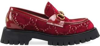 Gucci GG velvet lug sole loafers