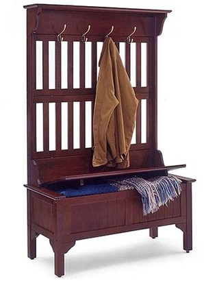 Homestyles Traditional 4-Hook Hall Tree with Storage Bench, Multiple Finishes