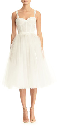 Carolina Herrera Logo-Strapped Tulle Dress