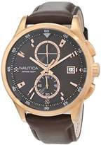 Nautica Men's 'NCT 19 FLAGS' Quartz Stainless Steel and Leather Casual Watch, Color:Brown (Model: NAD19557G)