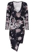 Quiz Black And Grey Floral Bodycon Dress