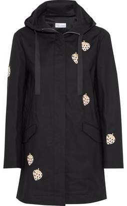 RED Valentino Appliqued Cotton-blend Canvas Hooded Coat