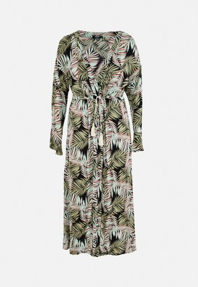 Missguided Plus Size Green Palm Print Frill Sleeve Beach Cover Up Kimono