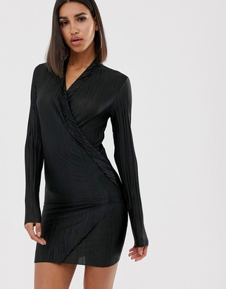 In The Style Plisse Plunge Asymmetric Mini Dress