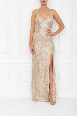 Honor Gold Gia Gold Sparkle Sequin Backless Maxi Dress With Split