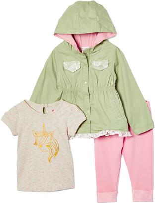 Nannette Kids Girls' Non-Denim Casual Jackets GREEN - Gold & Beige Unicorn Raincoat Set - Girls