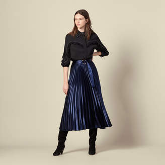 Sandro Long satin skirt with sunray pleating