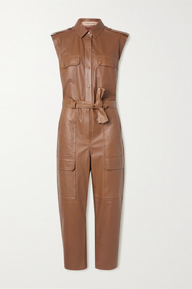 Yves Salomon Belted Leather Jumpsuit - Light brown