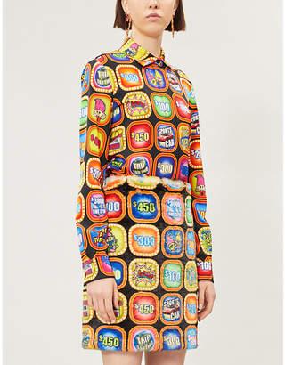 Moschino Graphic-print faux-fur mini skirt