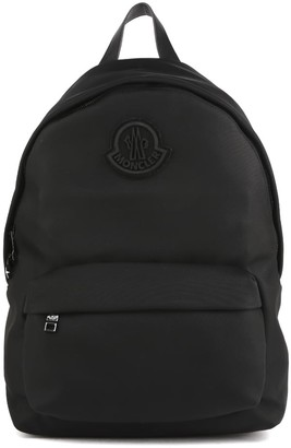 Moncler Black Backpack In Technical Fabric With Logo Patch
