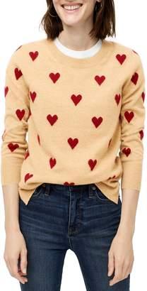 J.Crew Crewneck Intarsia Heart Everyday Cashmere Sweater