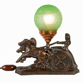 "Rejuvenation Gilt Charioteer Radio Lamp w/Green ""Brain"" Shade, c1930"