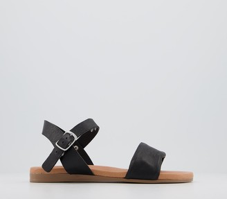 Office Speciality Two Part Sandals Black Leather