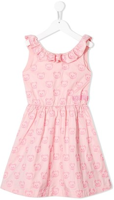 MOSCHINO BAMBINO Embroidered Teddy Bear Dress
