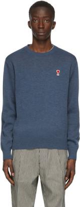 Ami Alexandre Mattiussi Blue Wool Ami De Coeur Crewneck Sweater