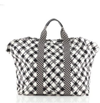 Chanel Weekender Tote Gingham Print Canvas Large