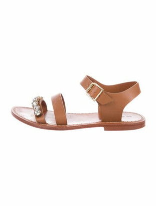 Marni Leather Crystal Embellishments Gladiator Sandals Brown