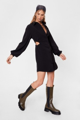 Nasty Gal Womens Missing in Action Cut-Out Shirt Dress - Black