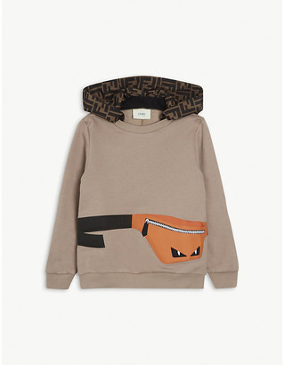 Fendi Belt bag-print cotton hoody 4-14 years