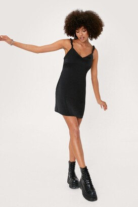 Nasty Gal Womens Scrunchie Strap Satin Mini Slip Dress