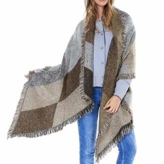 Jfan Women Cashmere Feel Plaid Blanket Shawl Scarf Warm Long Large Wraps Winter Thick Cable Knit Stole
