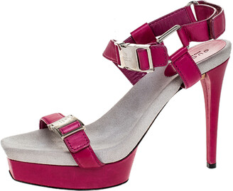 Gucci Pink Leather Side Release Buckle Detail Open Toe Platform Ankle Strap Sandals Size 39.5