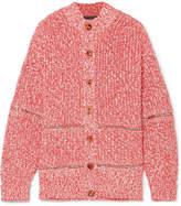 Alexander McQueen Zip-embellished Cotton And Wool-blend Cardigan - Pink