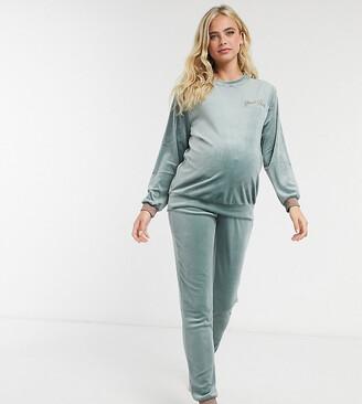 Hunkemoller Maternity velour lounge joggers with stripe trim in green