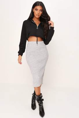 I SAW IT FIRST Grey Knitted Split Detail Skirt