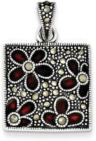 jewelryPot Sterling Silver Antiqued Marcasite Red Enamel Flowers in Square Pendant