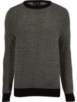 River Island Black And White Textured Knit Jumper
