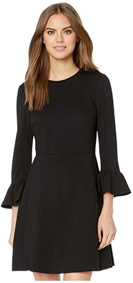 Kate Spade Bell Sleeve Ponte Dress (Black) Women's Clothing