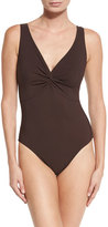 Karla Colletto Twist-Front Underwire One-Piece Swimsuit