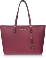 Michael Kors Jet Set Travel Medium Mulberry Saffiano Leather Top-Zip Tote