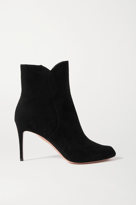Aquazzura Roya 85 Suede Ankle Boots - Black
