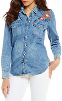 Lucky Brand Long Sleeve Button Front Floral Embroidered Denim Shirt