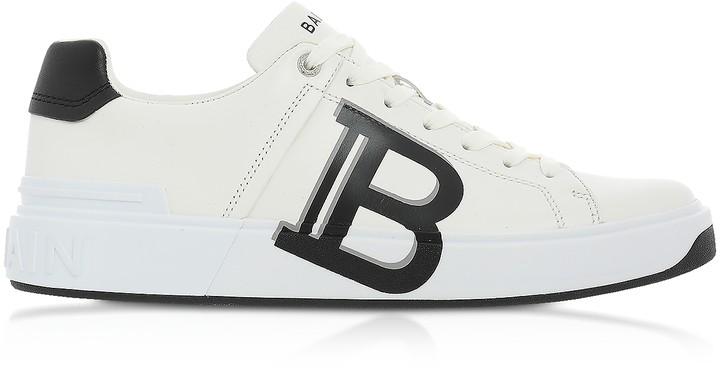 Balmain White & Black Low Top Men's B-Court Signature Sneakers