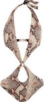Roberto Cavalli Cutout snake-print halterneck swimsuit