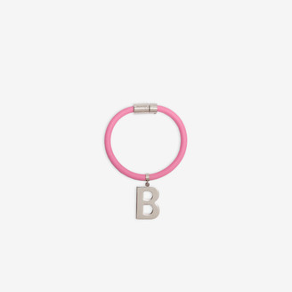 Balenciaga Elastic Bracelet in shiny silver brass and light pink rubber