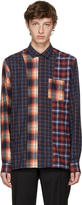 Lanvin Orange and Blue Flannel Multi Check Shirt